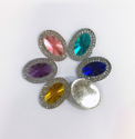 Picture of Large Double Oval Gems - Assorted with 2 Holes - 18x25mm (6 pcs) (AG-DO)