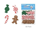 Picture of Foam-Fun Glitter Sticker Shapes - Candy Canes & Gingerbread (KX082)