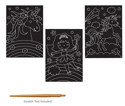 Picture of Krafty Kids Kit: DIY Scratch Art 3 Asst Sheets w/Scratch Tool - Fantasy Friends