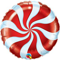 "Picture of 18"" Round Red Candy Swirl Foil Balloon (1pc)"