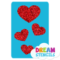 Picture of Cascading Hearts Glitter Tattoo Stencil - HP-56 (5pc pack)