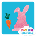 Picture of Easter Bunny with Carrot Glitter Tattoo Stencil - HP-87 (5pc pack)