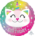 Picture of 17'' Happy Birthday Caticorn Foil Ballon (1pc)